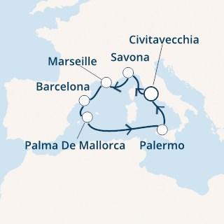 croaziera mediterana, costa, Italia, franta, Spania, 7 nopti, itinerariu